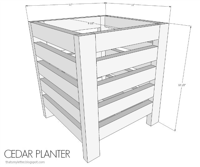 cedar scrap wood planter dimensions