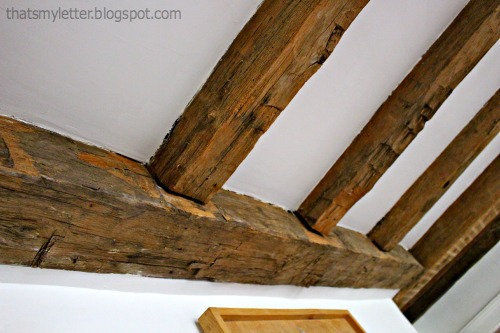 rough hand hewn exposed beams