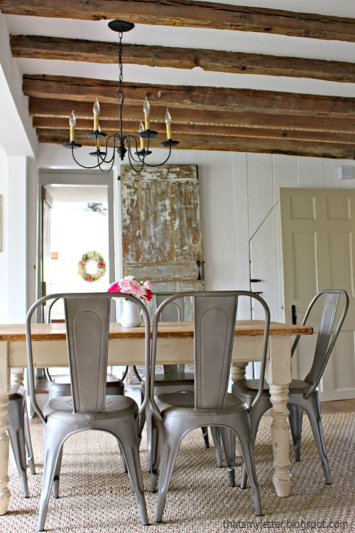 wood beams in dining room antique farmhouse