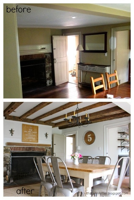primitive farmhouse dining room before and after