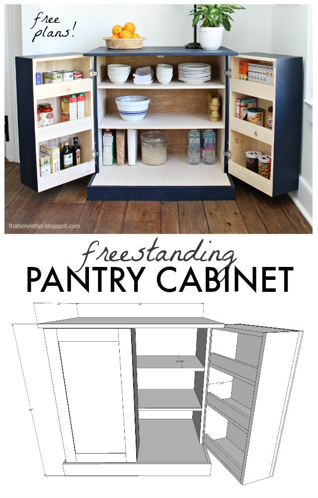 diy freestanding pantry cabinet free plans