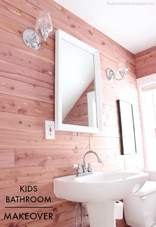 kids bathroom makeover with cedar planked walls