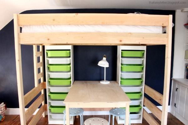 Diy Loft Bed With Lego Storage Work Space Jaime Costiglio