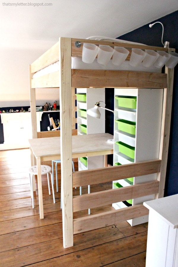 diy loft bed with work space below