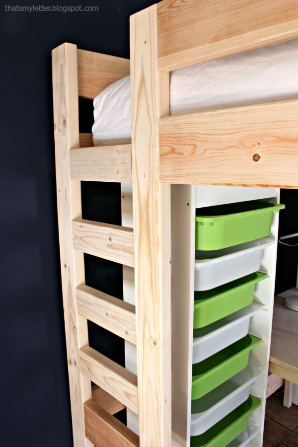 integrated ladder for loft bed