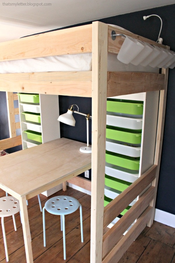 loft bed with lego storage and work space underneath