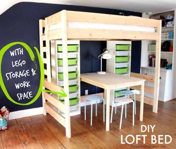 Diy Loft Bed With Lego Storage Amp Work Space Jaime Costiglio