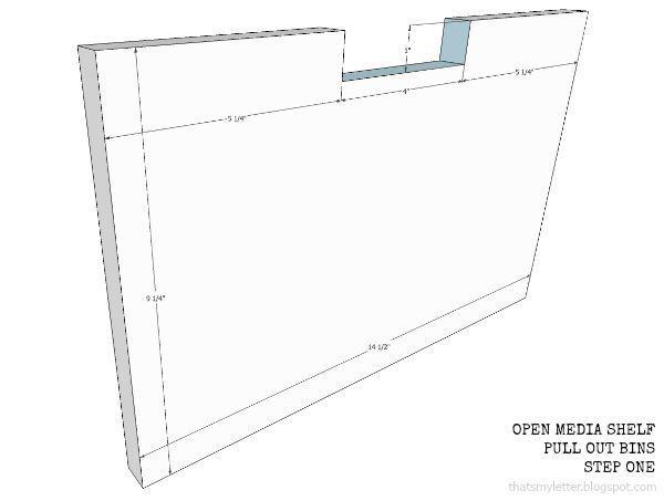 open media shelf pull out bins step 1