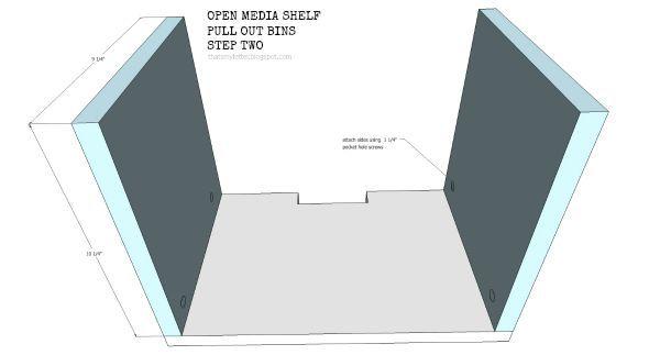 open media shelf pull out bins step 2