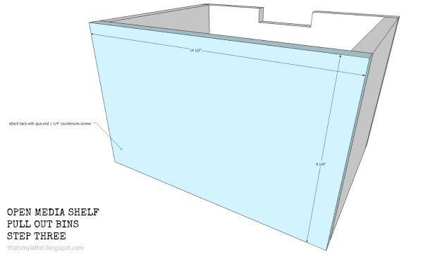 open media shelf pull out bins step 3
