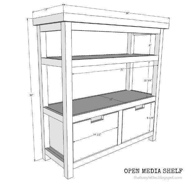 open media shelf free plans