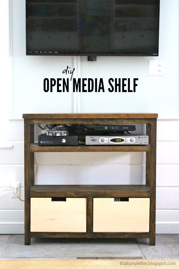 diy open media shelf