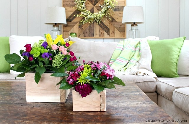 spring cedar box planters in family room
