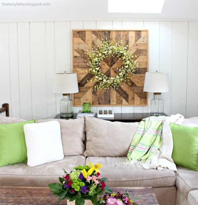 spring family room giant wood planked wall quilt