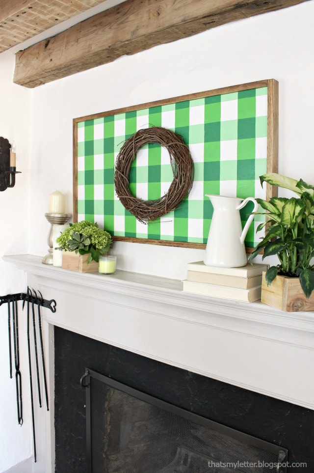 green gingham wall art