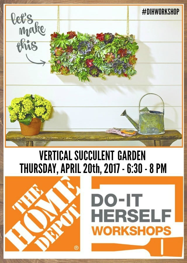 DIH workshop at The Home Depot vertical succulent garden