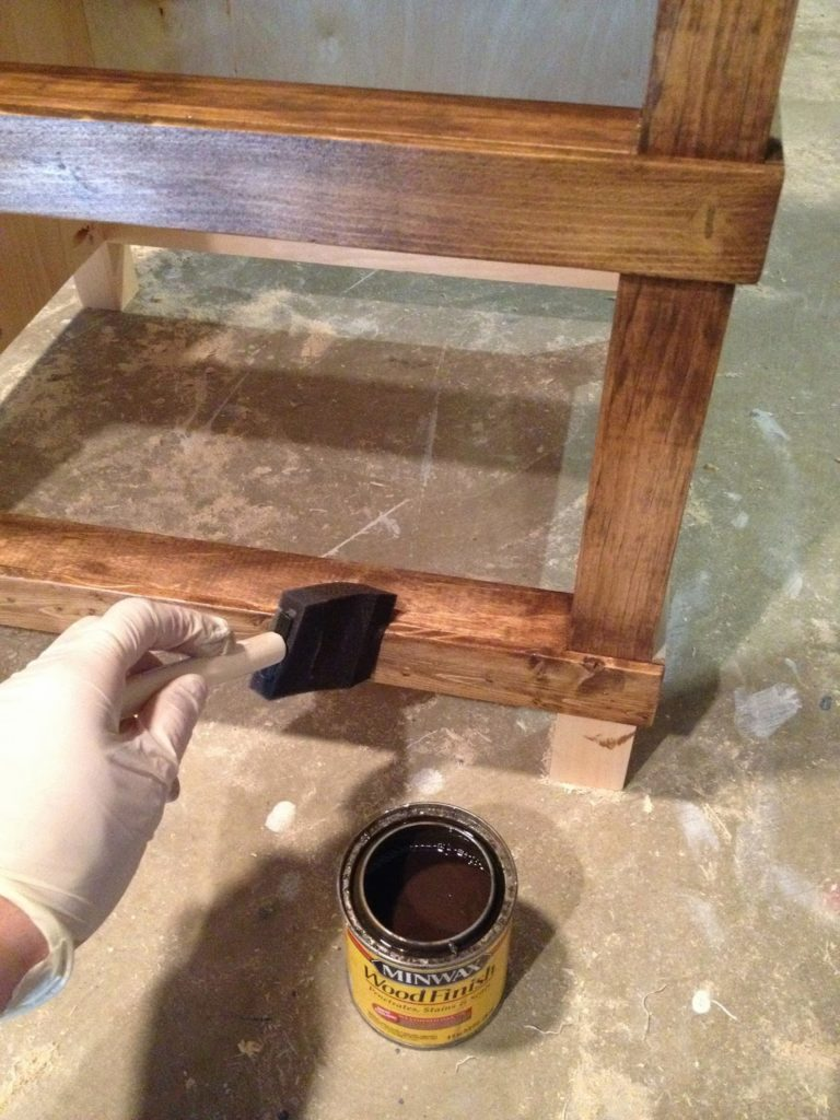 stained finish on nightstand