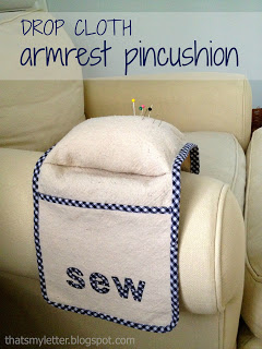 make an armrest pincushion using drop cloth