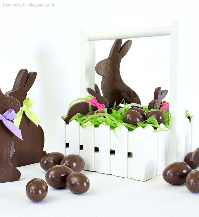 diy fence basket with faux chocolates