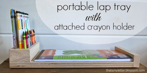 portable lap tray with crayon holder