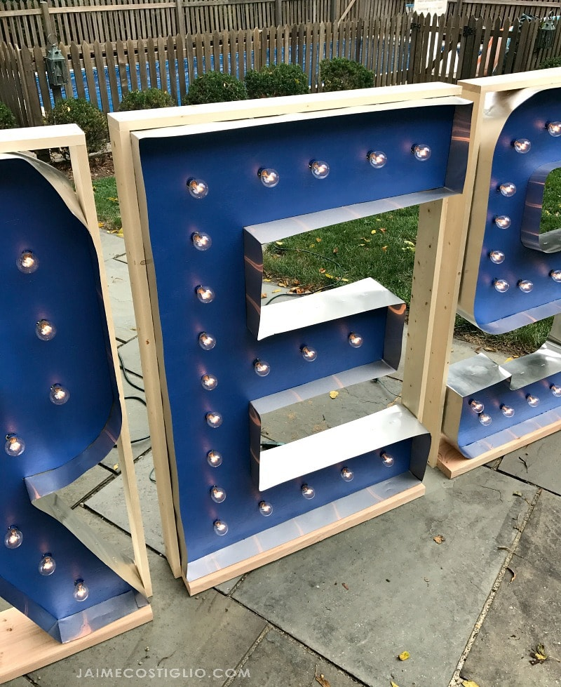 giant marquee letters framed