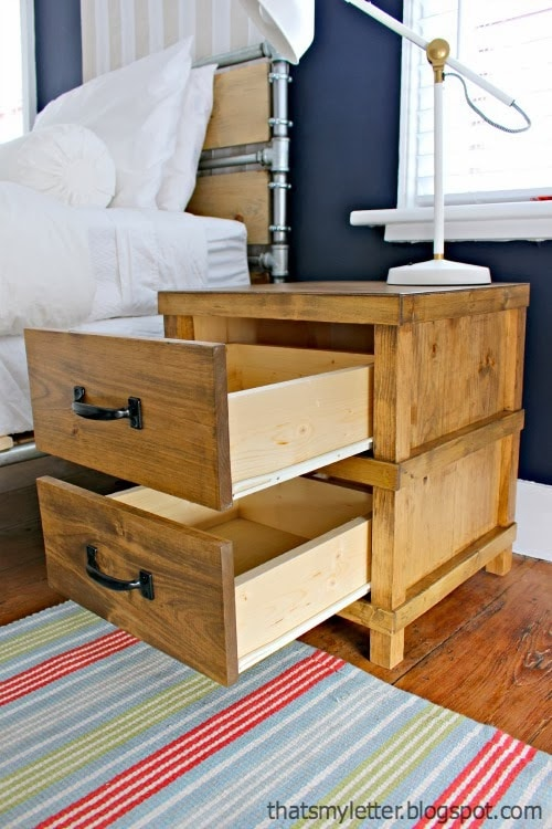 diy masculine nightstand with two drawers