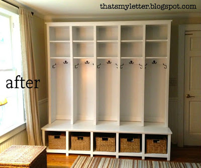 diy mudroom locker and bench unit