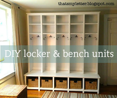 diy locket and bench mudroom unit