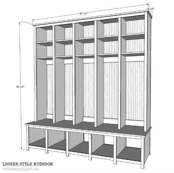 Diy locker bench units jaime costiglio for Mudroom dimensions