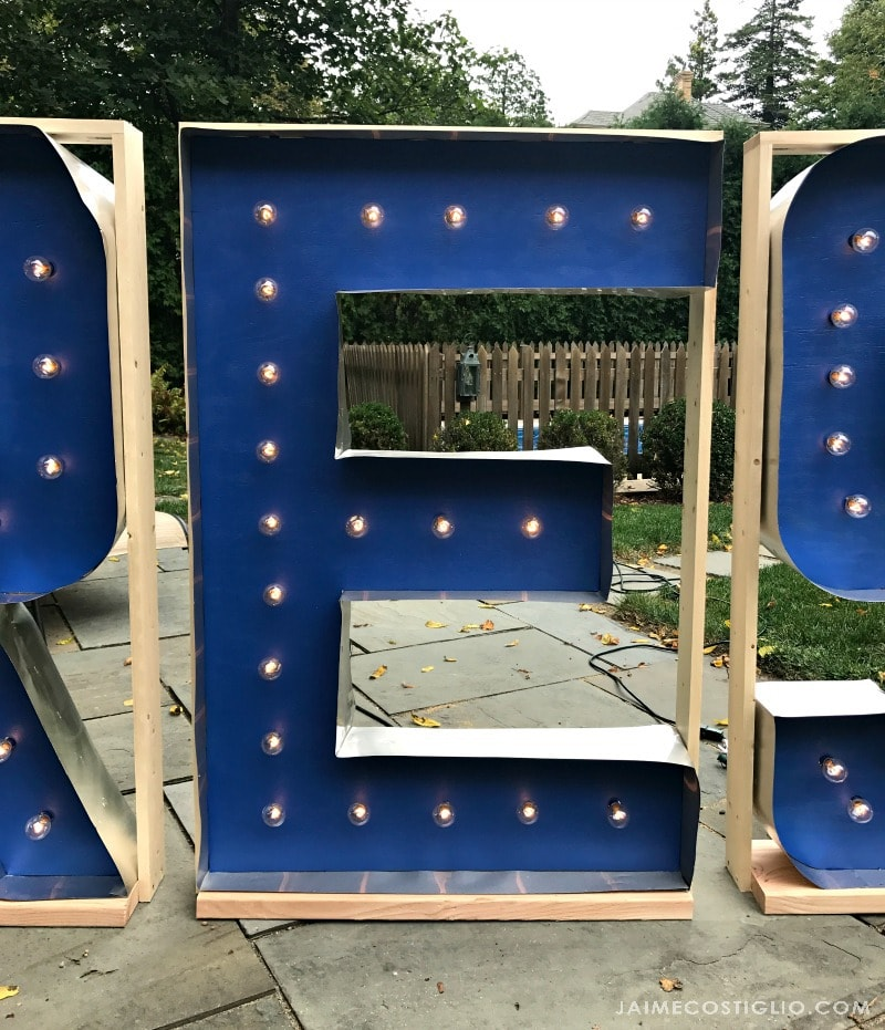 framed marquee letters