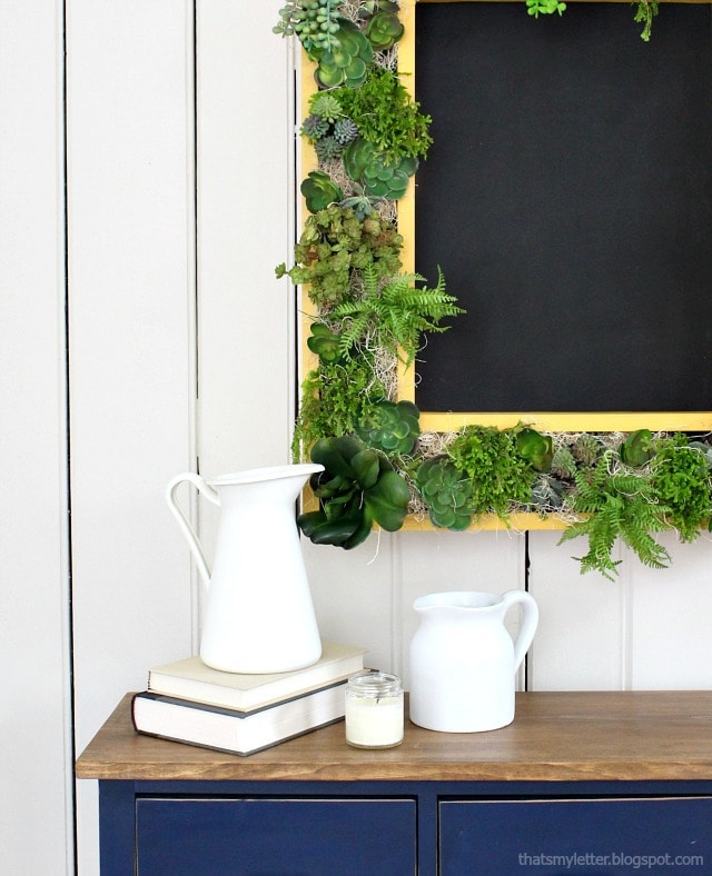 vertical succulent garden frame with chalkboard
