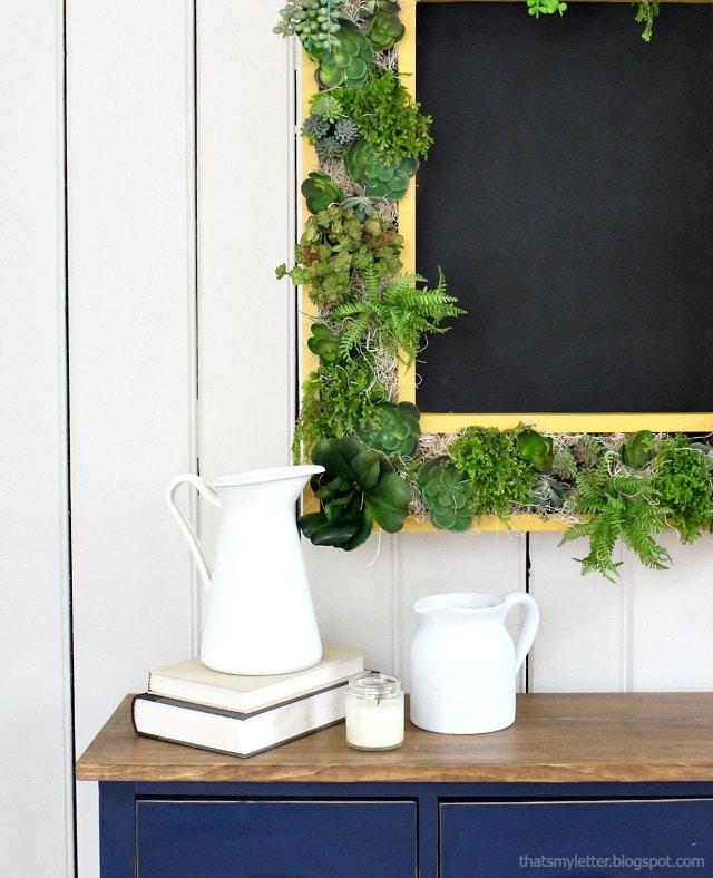 vertical succulent garden frame with chalkboard