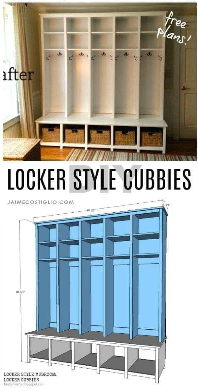 diy locker style cubbies free plans