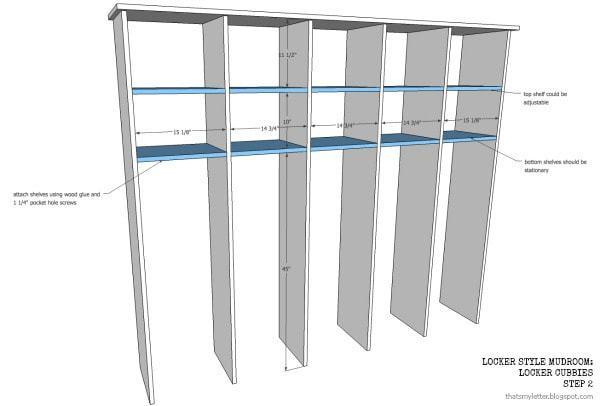 locker style mudroom cubbies free plans