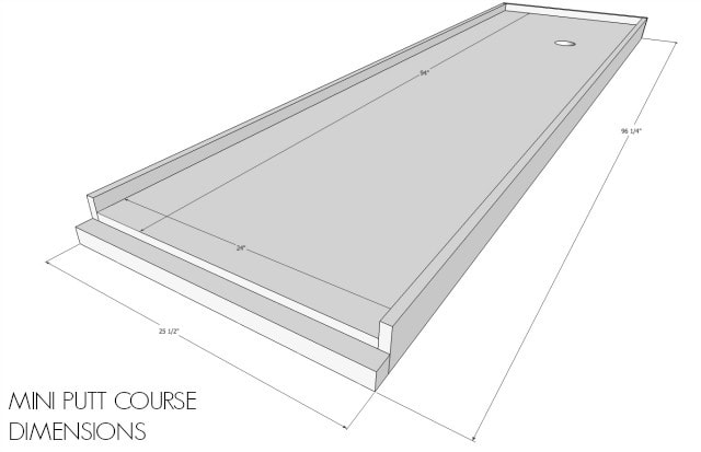diy mini putt course dimensions