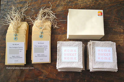 diy moving announcements tags, pockets and envelopes