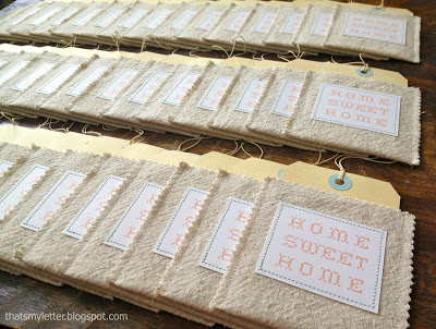 moving annoucement tags in drop cloth pockets