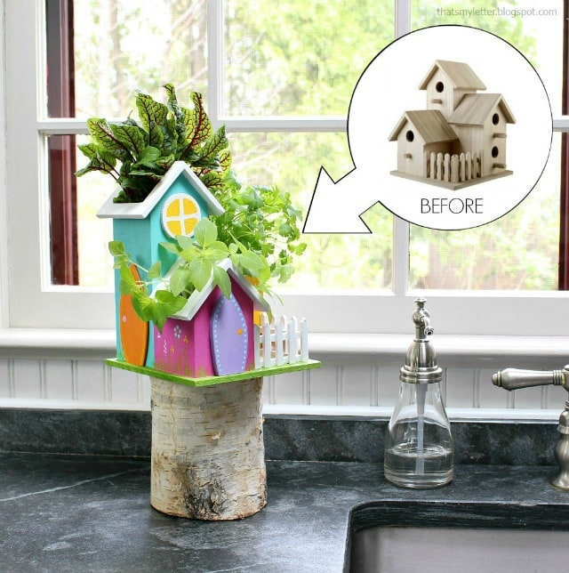 diy tabletop herb garden from wood birdhouse