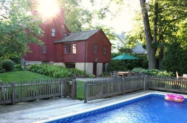 backyard primitive farmhouse with pool