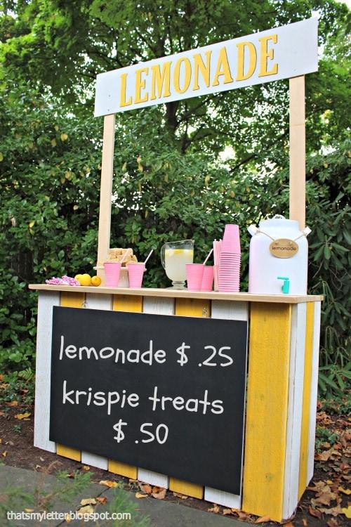 diy kids lemonade stand with chalkboard sign