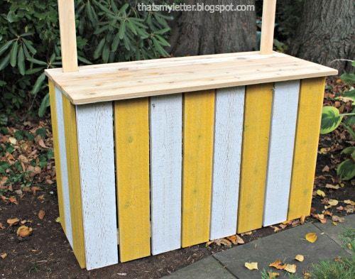 kids lemonade stand with cedar top