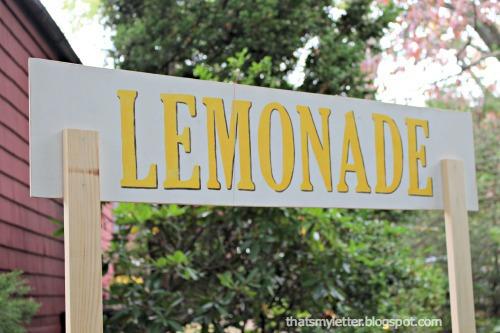 backside of lemonade sign