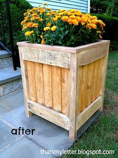 planter made from stockade fence piece