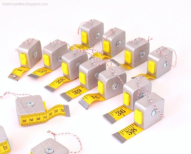 mini tape measure ornaments