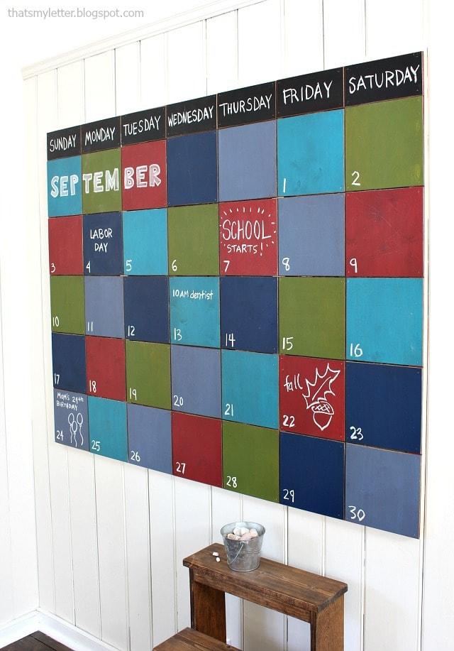 diy giant chalkboard wall calendar