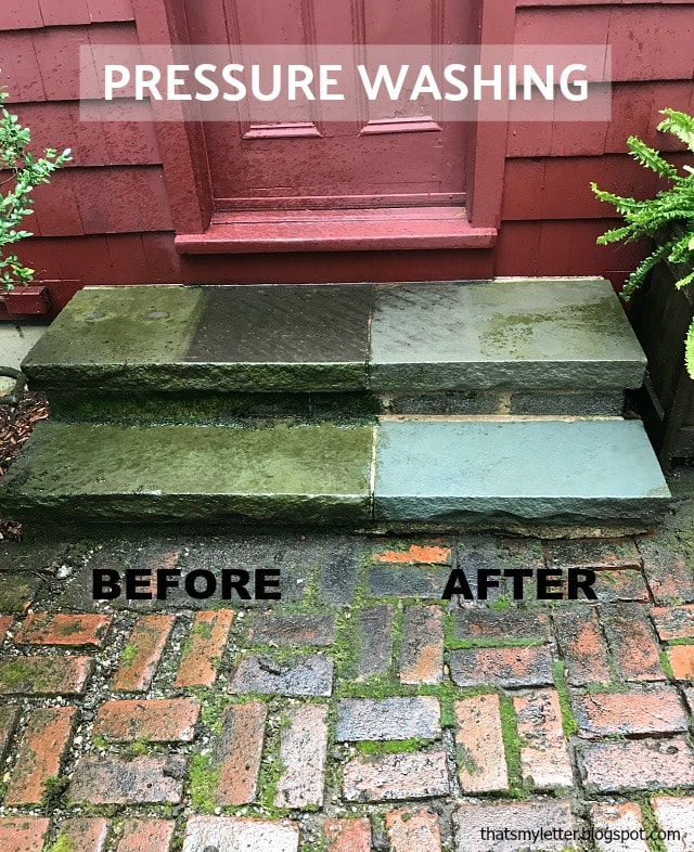 pressure washing blue stone steps before after