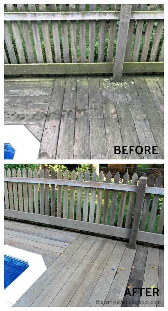 pressure washing wood deck before after corner