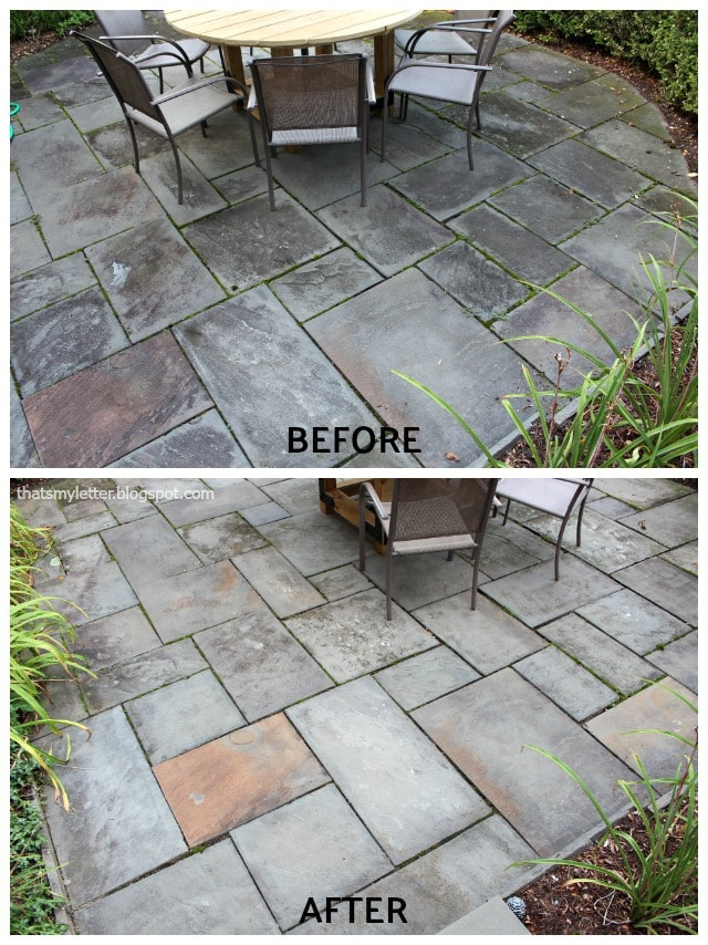 pressure washing bluestone front patio before after