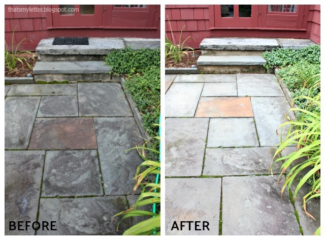 pressure washing bluestone patio adn steps before after