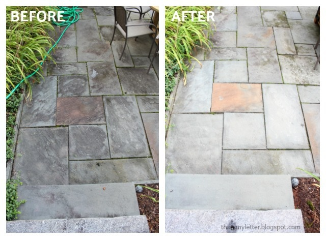 pressure washing blue stone patio before after
